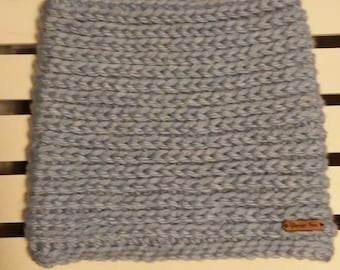 Chunky Alpaca Cowl / Neck Warmer /Crochet Scarf / Light Gray