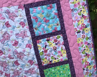 Baby Quilt and Pillow Kit - Pink Kitties from Chi Chi Patches by 3 Wishes - Pattern by Little Louise Designs