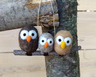 Owl Family Ornament or Wall Hanging - Custom