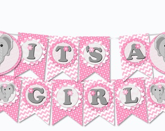 Pink Elephant Baby Shower Banner Party Decorations Girl 'IT'S A GIRL' - printable, pdf, Instant Download, diy