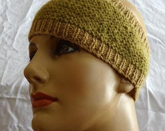 Hand-knit gold and tan merino wool and alpaca headband ear warmer, merino wool earmuff, warm winter head wrap