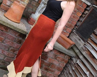Tan knitted Cowgirl Skirt, front and back slit, designer knitwear