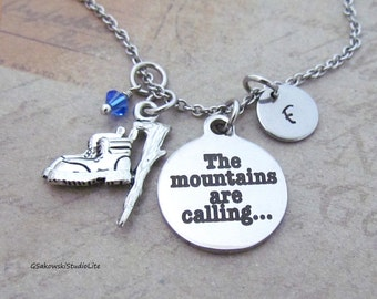 The mountains are calling Hiking Boots Charm Necklace, Personalized Hand Stamped Initial Monogram Birthstone Mountains Necklace