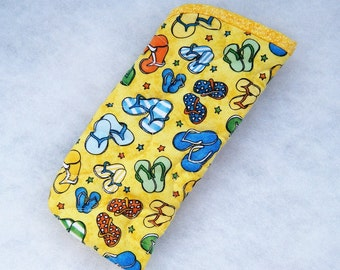 Quilted Sunglass/eyeglass case - mini Flip Flops