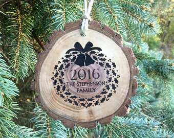 Personalized Family Christmas ornament custom engraved wreath wood slice