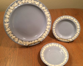 Wedgwood Embossed Queensware Plates Saucer Cream on Lavender Blue Mountbatten 1950s