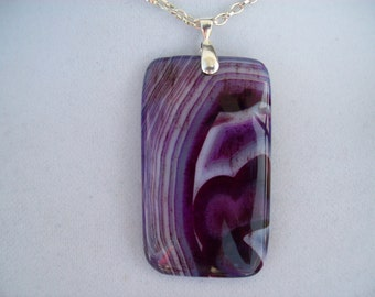 """Purple and White Oblong Agate pendant with chain 2-3/4"""" long"""