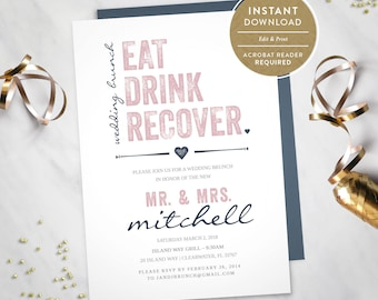 Eat Drink Recover – Wedding Brunch Invitation (Instant Download) #100