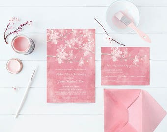 Cherry Blossom Wedding Invitations with Pink Cherry Blossoms