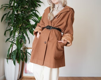Vintage Tan Coat / Large Wool Blend Coat / Chunky Coat / Vintage Hooded Coat / Large Coat
