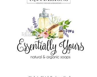 Essential Oils Logo, Soap Logo, Boutique Logo, Soap Making Logo, Watercolor Logo, Bath Logo, Premade Logo, Custom Logo Design