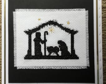 """Completed cross stitch nativity card 6"""" x 6"""""""