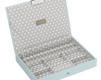 Jewel Storage Duck Egg Blue Lidded Stacker Jewellery Box with Grey Polka Dot Lining