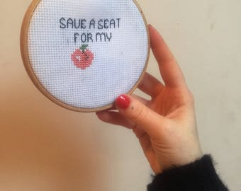 Save a Seat For My Peach Mini Cross Stitch