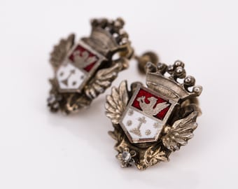 Vintage Coro Heraldic Crest Enamel and Goldtone Screwback Earrings