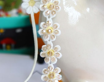 Necklace Chocker and Hair ribbon band Dasie Flower Crystal Decorate