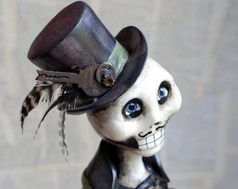 OOAK Steampunk Skeleton Mixed Media Art Doll