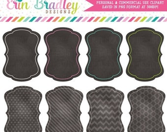80% OFF SALE Chalkboard Background Text Frame Tags Clipart for Invitations and Graphic Designers Polka Dotted Striped Chevron Patterns