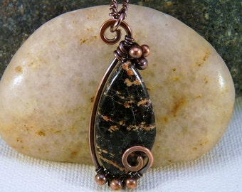 Wire Wrapped Jasper Pendant Necklace, Copper and Black. Spiral.