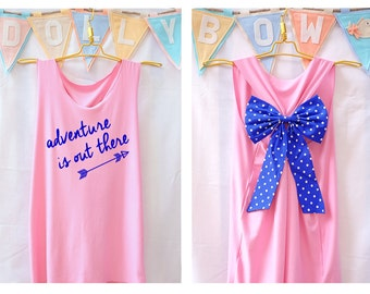 Adventure is out there Tank Premium with Bow : Workout Shirt - Keep Calm Shirt - Tank Top - Bow Shirt - Razor Back Tank - Disney Up Movie