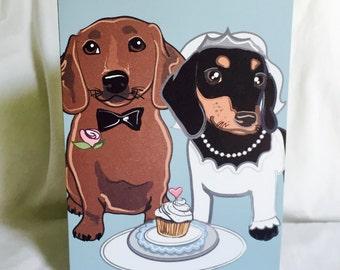 Wedding Dachshunds - Greeting Card