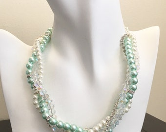 Mint and Ivory Necklace Bridesmaids Necklace Pearl Necklace Mint Green Necklace Mutli Stand Necklace 4 Strands Necklace Mint Jewelry