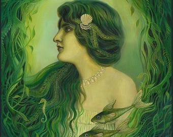 The Nereid 8x10 Fine Art Print Mermaid Mythology Art Nouveau Ocean Goddess Art