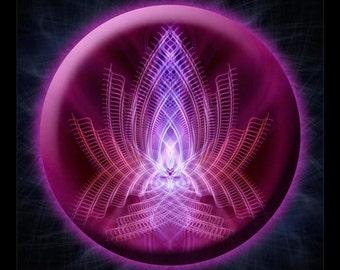 Original Mandala Flamme Violette (Violet Flame), Spiritual Art, Psy Art, printed on archival photopaper