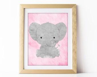 Girls Elephant Artwork Safari Nursery Art Print Jungle Painting Girls Pink Nursery Wall Art Animal Theme Baby Room Elephant