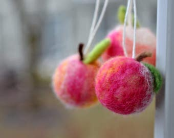 Felted fruit Gift Set Peach Day Ornaments -Set of 3