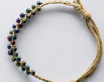 Metallic Beaded Braid Friendship Bracelet Anklet