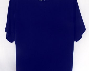 Jack Mulqueen Dark Navy Blue Blouse With Back Button Clousure