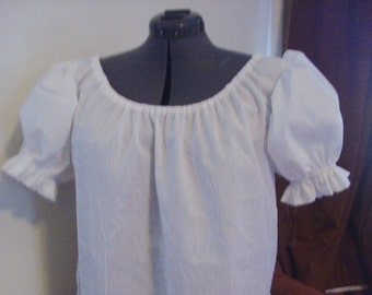READY TO SHIP White Peasant Blouse with short puffed sleeves