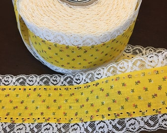 """Lace Fabric Ribbon By The Yard, Crafting sewing Yellow Light Cream Floral Trim 2 1/4"""" wide"""