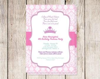 Princess party invitation, princess birthday party invitation, baby shower invitation, custom invitation, diva birthday party invitation