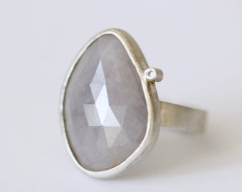 Grey rose cut sapphire slice ring with diamond accent