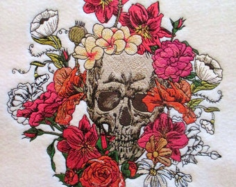 Extra Large Sugar Skull Surrounded in Bed of Flowers Applique Patch, Day of the Dead, Dia de los Muertos, Halloween, Gotihc, Skull, Skeleton