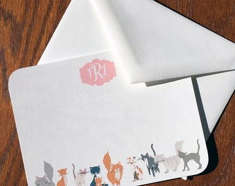Charismatic Cat Personalized Correspondence Cards, Monogram Stationery Set, Monogrammed Stationery, Personalized mothers days gifts ideas