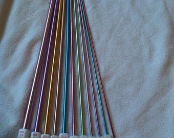 Aluminum Afghan Crochet Hooks/ Tunisian Hooks Multi Colored 11 sizes