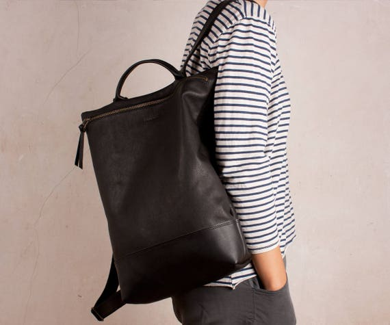 LEATHER BACKPACK black laptop backpack leather backpack