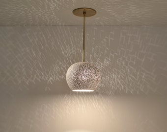 Ceiling Light: Clay light Pendant with Brass Rod