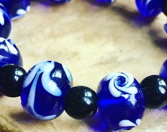 Lampwork Glass Beaded Bracelet with Agate