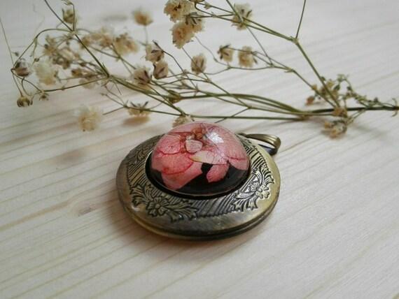 Locket necklace brass photo locket Wedding locket Floral necklace Pressed flower keepsake vintage message jewelry on sale sold as seconds