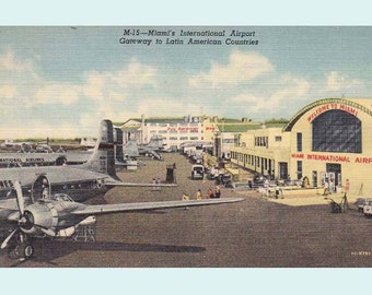 Vintage 1940's Postcard Miami International Airport Gateway to Latin American Countries - Unused