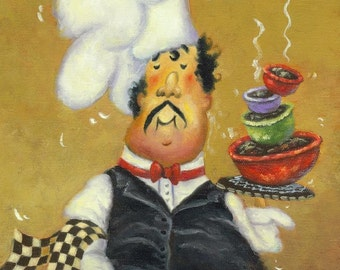 Chef Art Print, fat chef kitchen art, chef paintings, chef prints, cuisine, food, whimsical, silly, chefs, four bowl chef, Vickie Wade Art