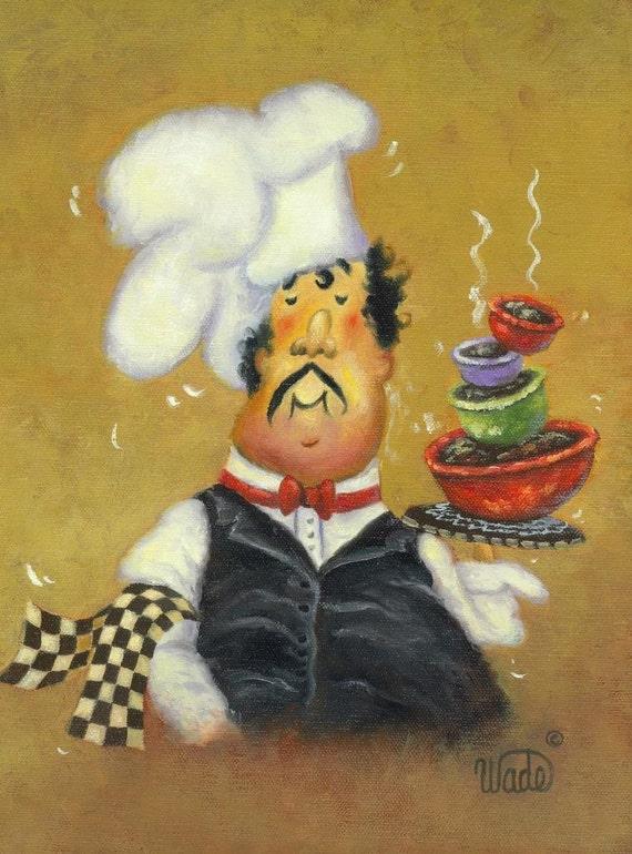 Chef Art Print fat chef kitchen art chef paintings chef
