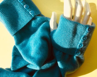 Cashmere Blue Fingerless gloves arm warmers upcycled texting soft