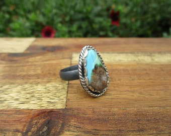 Royston Turquoise Ring / Sterling Silver Ring / Royston Mine / Genuine Turquoise / Brown Turquoise / Pear Shaped Turquoise Ring Size 10