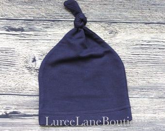Blue baby beanie/Newborn beanie/Knot baby hat/Knot baby beanie/Infant knit hat/Navy baby hat/Baby shower gift/Newborn hat/Newborn beanie