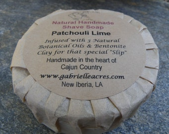Shave Soap - Patchouli Lime Men's Shaving Soap with All Natural Ingredients - Shave Puck